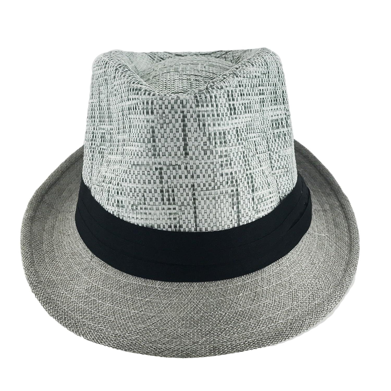 Faddism Unisex Ribbon 2 Tone Cuban Brim Fedora Straw Hat Model 210
