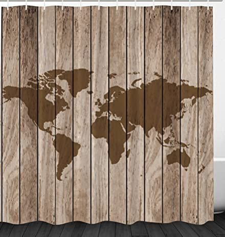 Amazon ambesonne vintage old world map globe wooden antiqued ambesonne vintage old world map globe wooden antiqued rustic decor polyester fabric bathroom shower curtain set gumiabroncs Image collections