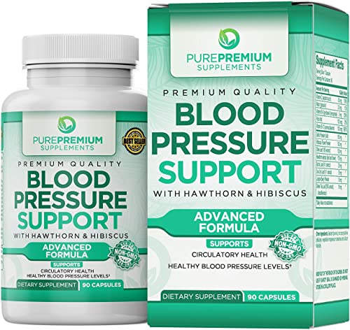 Premium Blood Pressure Support Supplement by PurePremium with Hawthorn Hibiscus – Natural Anti-Hypertension for Cardiovascular Circulatory Health – Vitamins Herbs Promote Heart Health – 90 Caps