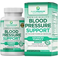 Premium Blood Pressure Support Supplement by PurePremium with Hawthorn & Hibiscus...