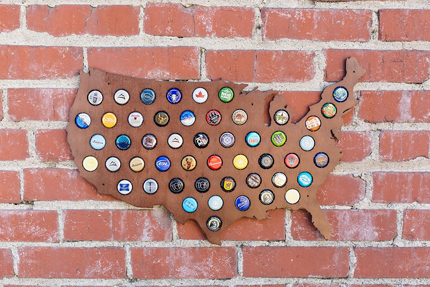 Amazoncom USA Beer Cap Map With Dark Stain Craft Beer Cap - Us beer cap map