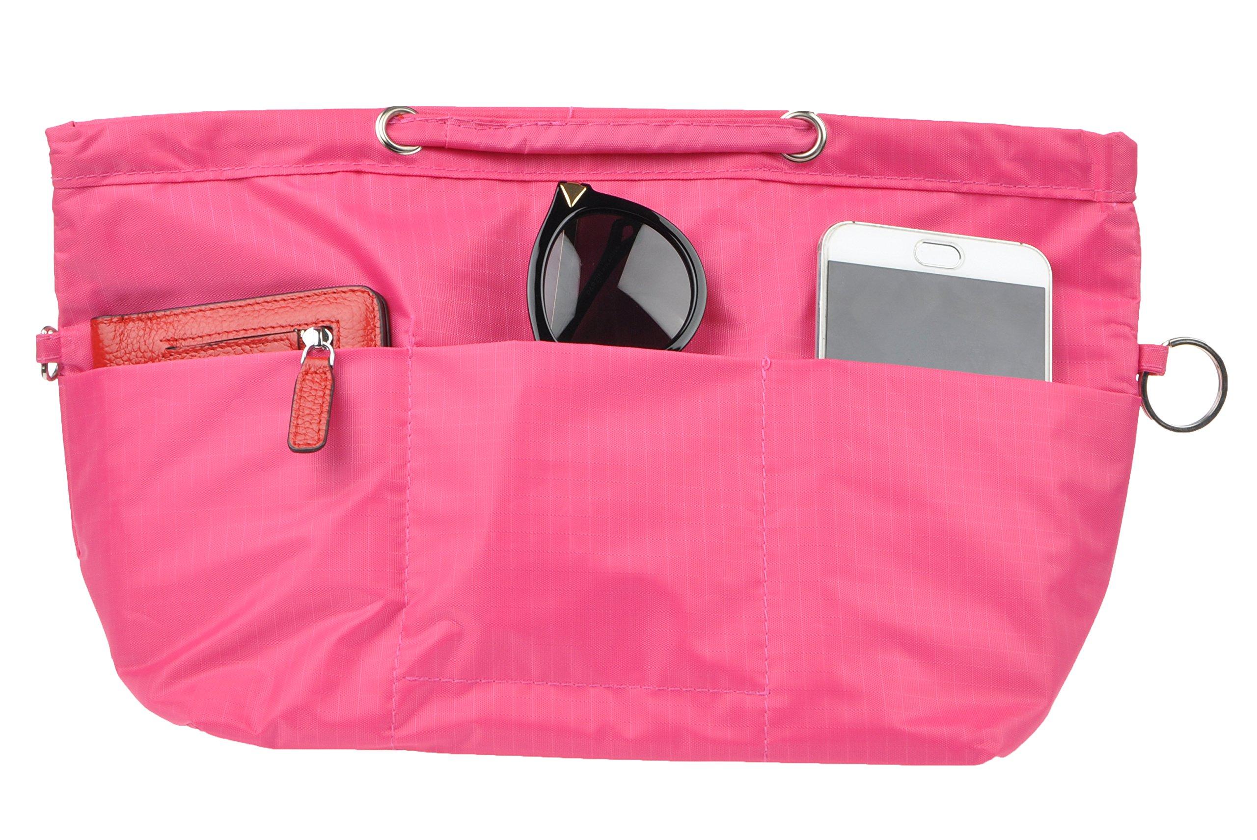 Vercord Oxford Handbag Purse Tote Pocketbook Insert Organizer With Handle 2 Sizes, Rose M