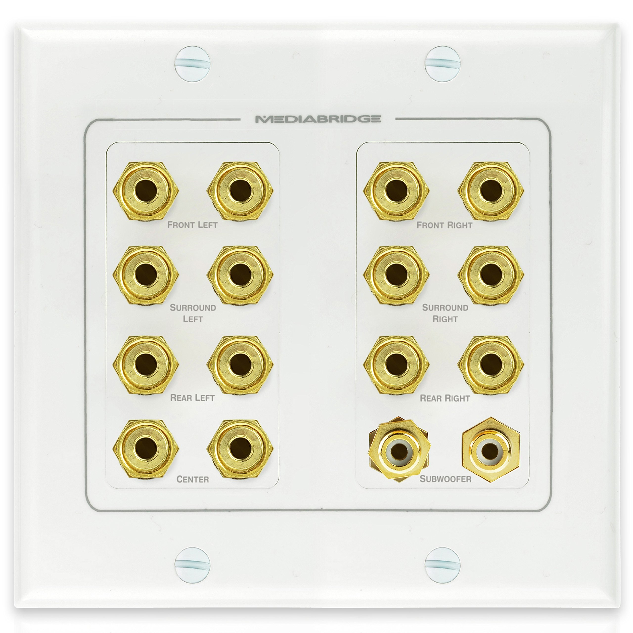 Mediabridge Speaker Wall Plate w/ Binding Posts (7 Pair) & RCA (2 Ports) - LIMITED TIME OFFER: FREE Mounting Bracket (2-Gang) - 2-Piece Inset Wall Plate for 7.1 / 7.2 Surround Sound (Part# WP2-B7/S2 )