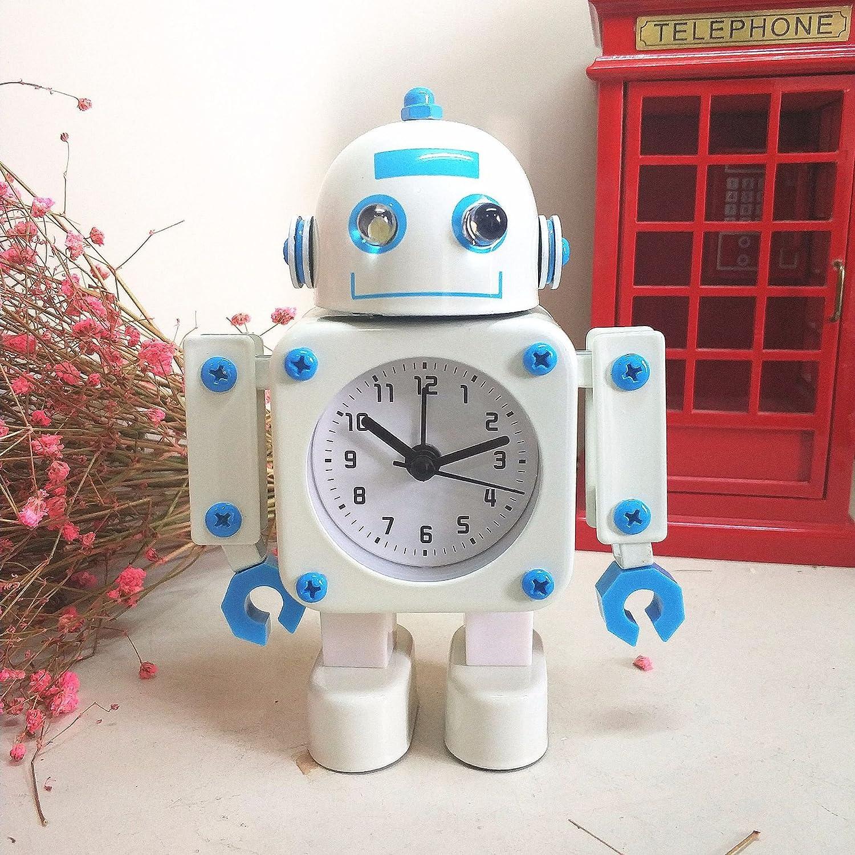 QRUPAF Hogar Creativo Reloj de Metal para niños Reloj mecánico de Dibujos Animados para Estudiantes Robot Mudo Despertador Blanco y Azul: Amazon.es: Hogar