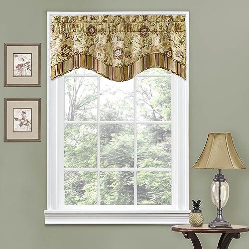 WAVERLY Navarra Floral Pattern Scalloped Window Valance Curtains, 52 x 16 , Antique
