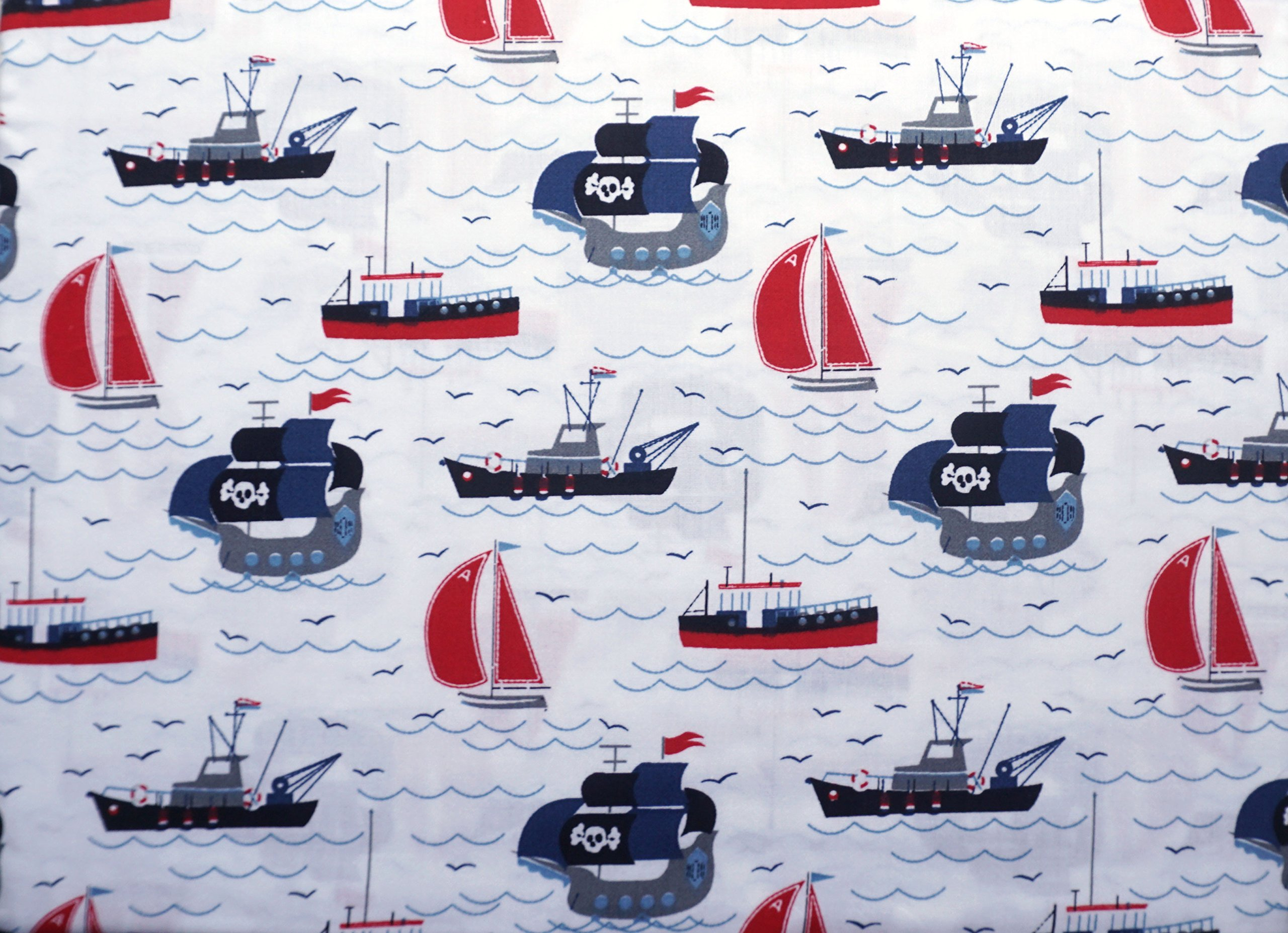 Authentic Kids 3 Piece Twin Sheet Set Red Blue Gray Black Pirate Ships Tug Boats Sail Boats Ocean