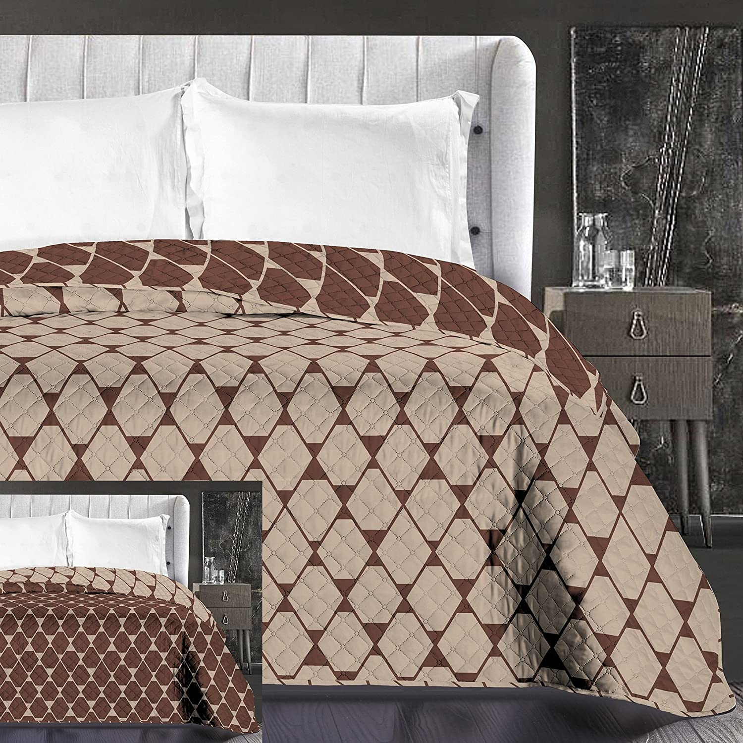 Microfibre Bed Linen Bedding with 1 pillowcase 80x80 Beige Geometric Squares Duvet Covers Sets Beige Cappuccino Brown Chocolate Brown Chocolate Hypnosis Rhombuses, Microfibre, Beige Brown, 135 x 200 DecoKing 92071