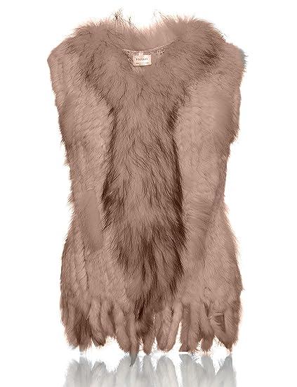 HEIZZI 100% Piel de Conejo Chaleco con Cuello de Mapache de Punto Elegante Suave: Amazon.es: Ropa y accesorios