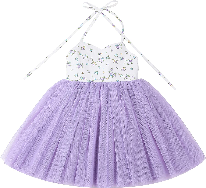 Flofallzique Toddler Girls Tutu Dress Tulle Birthday Wedding Party Floral Baby Dress