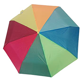 Paraguas colores arcoíris Multicolor, pequeño, portátil de viaje, plegable
