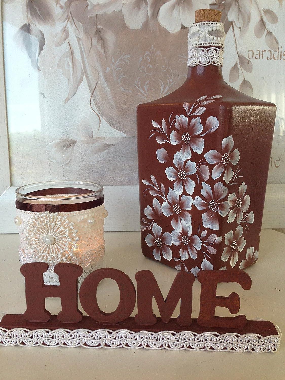botella de cristal pintada a mano, 3 piezas, botella porta-velas y letras de home: Amazon.es: Handmade