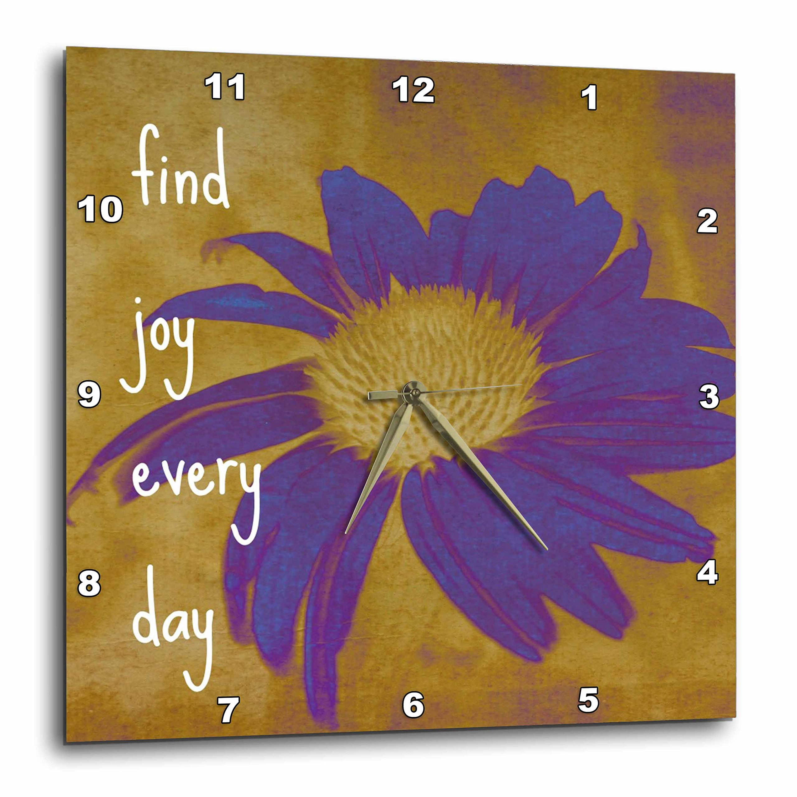 3dRose Purple Flower Find Joy Every Day- Inspirational Quotes- Art - Wall Clock, 15 by 15-Inch (dpp_41170_3)