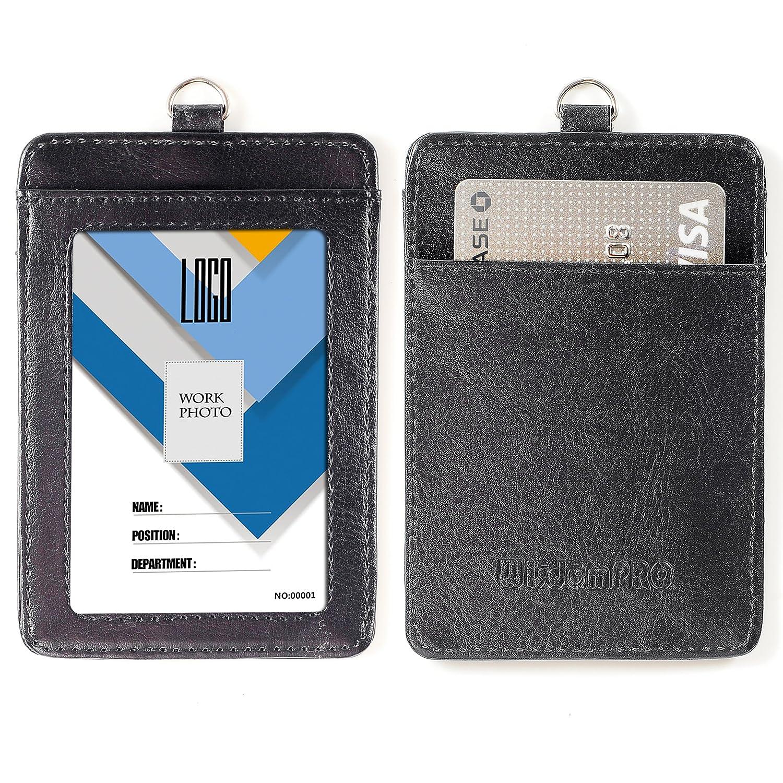 porta badge a 2 lati in PU cartellino porta badge con tracolla//laccetto da collo staccabile da 58,4/cm Vertical Hot Pink verticale nero Wisdompro