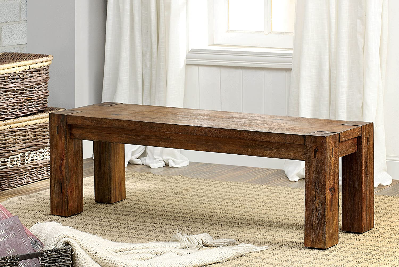 Furniture of America Maynard Dining Bench, Brown