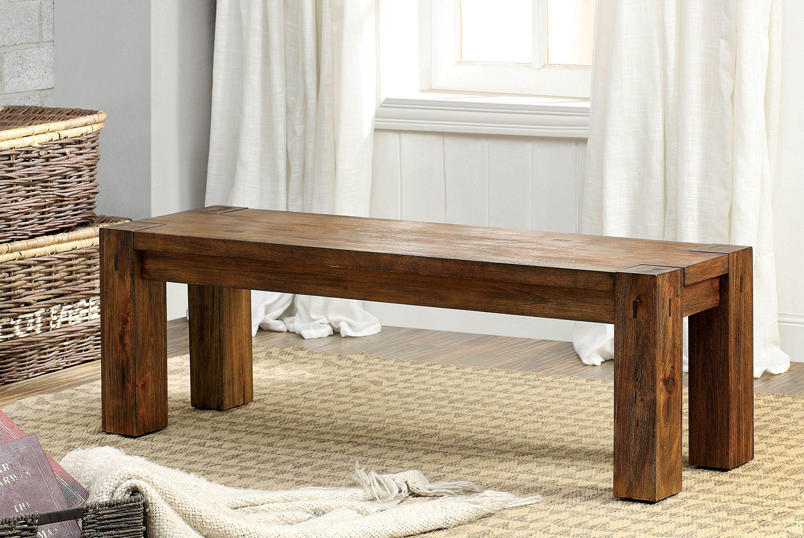 Furniture of America Maynard Dining Bench, Brown by Furniture of America