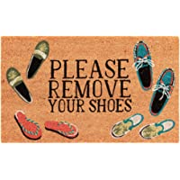 "Liora Manne NTR12222412 Natura Summer Coastal Please Remove Your Shoes Natural Outdoor Welcome Coir Door Mat, 1'6"" x 2'6…"