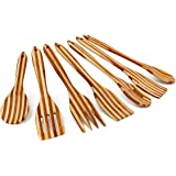 Relaxdays Set da 7 Pezzi Utensili da Cucina in Legno di Bambù, con Manico Forato, Contenitore, B X L: 6.5 X 31 cm, Marrone
