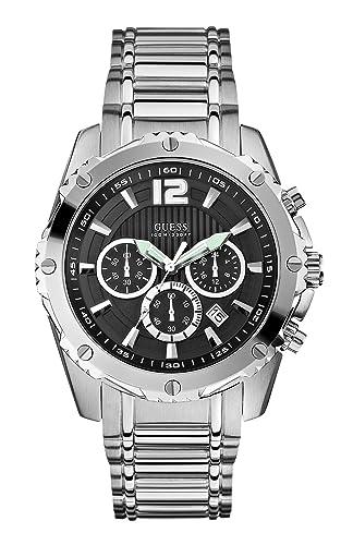 Guess U0165G1 - Reloj de Pulsera Hombre, Acero Inoxidable, Color Plata: Guess: Amazon.es: Relojes