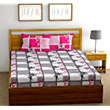 Fab Theory Boxed Roses 104 TC 100% Cotton Double Bedsheet with 2 Pillow Covers, Grey