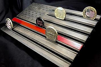 LOKI ENGRAVING Black American Flag Challenge Coin Display - Wood