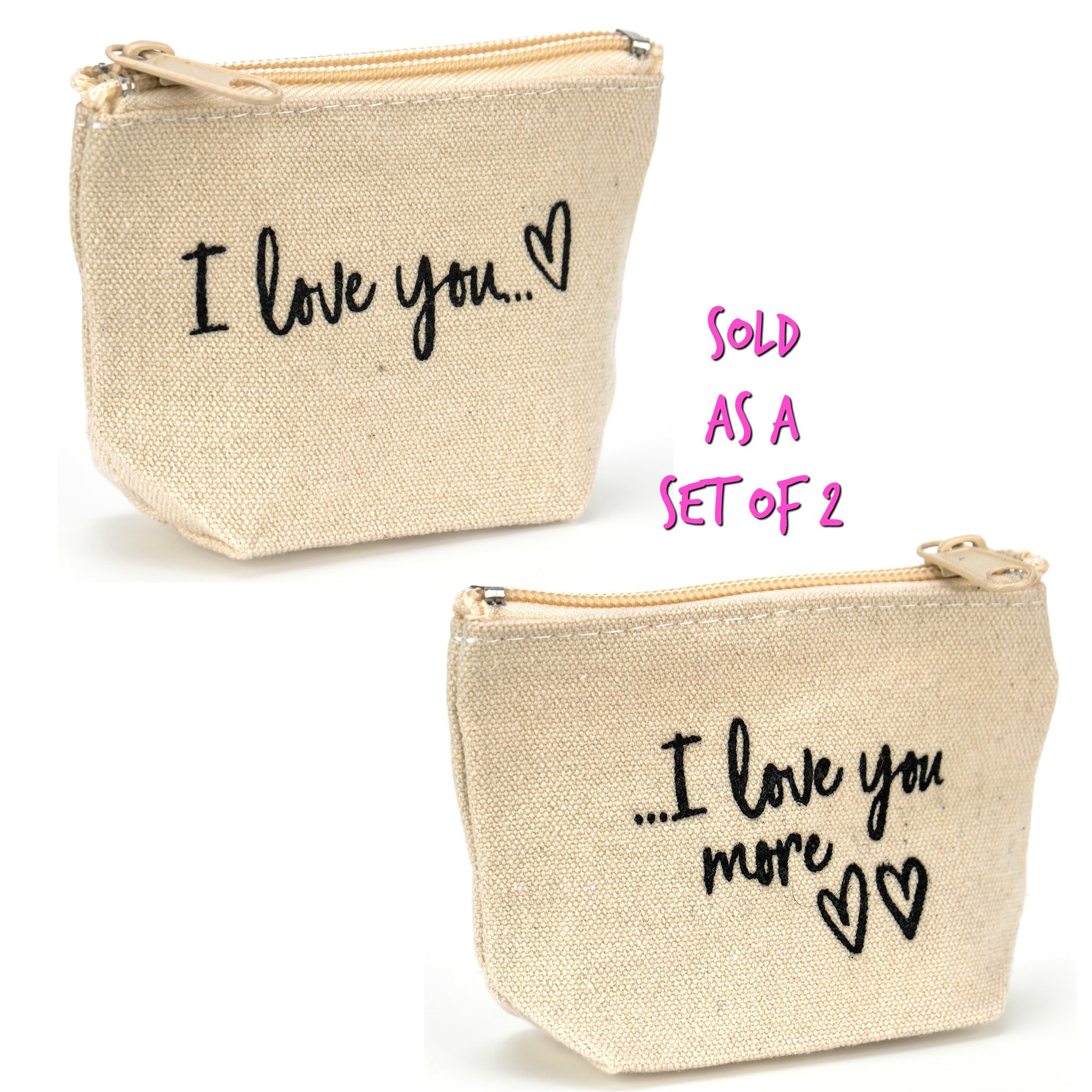 Friend Gift Coin Purse Set - I Love You & I Love You More - Couple Gift - Set of 2 Bags, 1 of Each Design