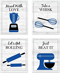 Navy Royal Blue Black White Retro Vintage Inspirational Kitchen Restaurant Utensil Wall Art Baking Chef Cooking Wood Grain Prints Posters Signs Sets for Rustic Modern Farmhouse Country Home Dining Room Decor Decoration Funny Sayings Quotes 4pc set Unframed 8x10