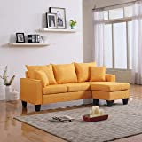 Modern Linen Fabric Small Space Sectional Sofa with Reversible Chaise (Yellow)