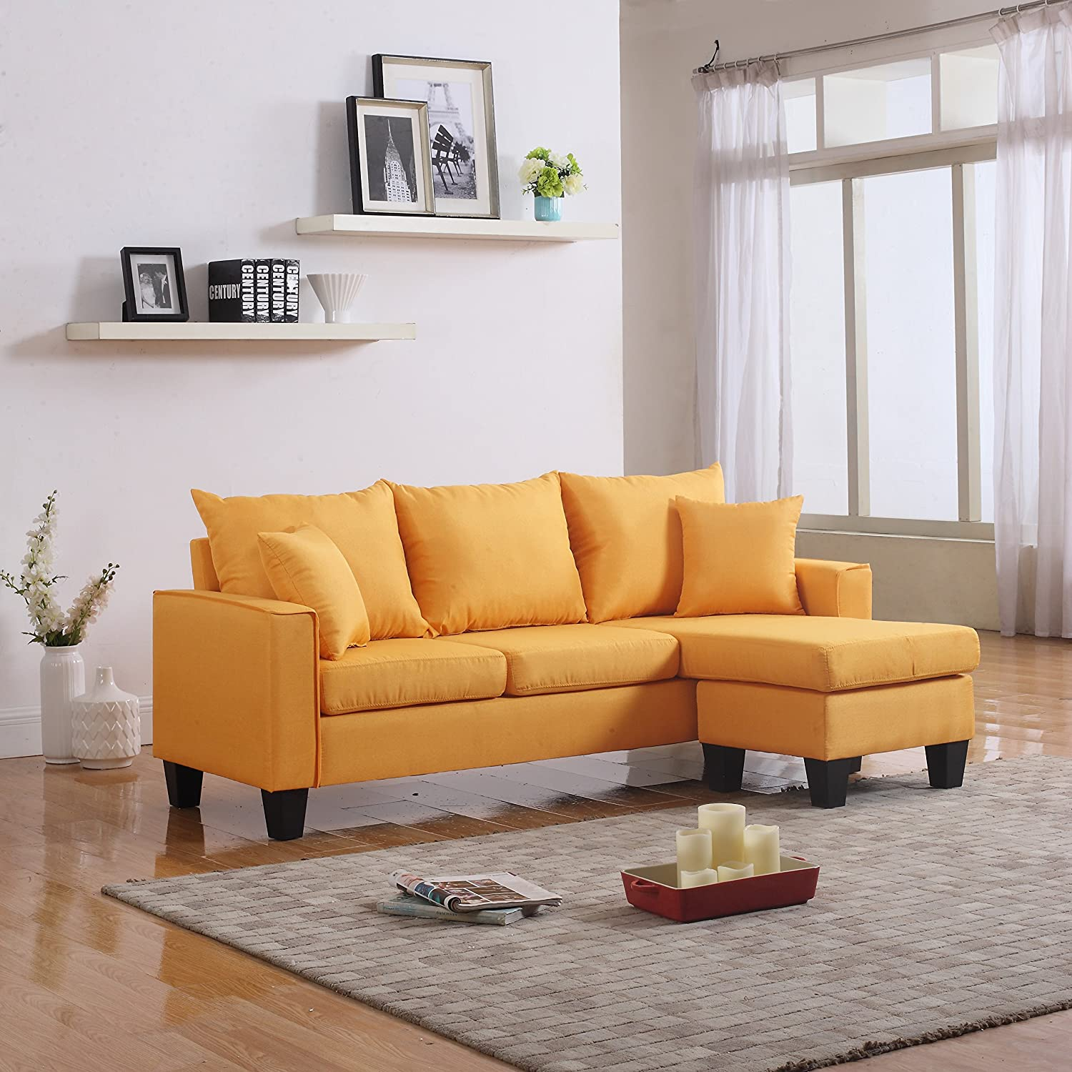 Amazon.com: Modern Linen Fabric Small Space Sectional Sofa With Reversible  Chaise (Yellow): Kitchen U0026 Dining