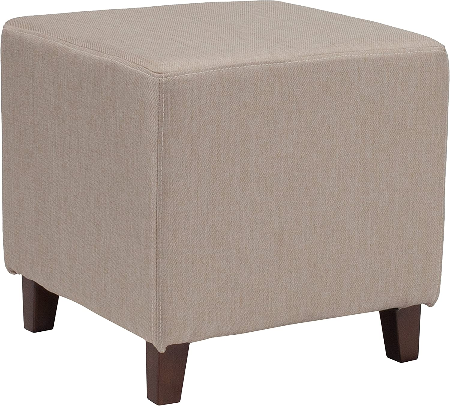 Flash Furniture Ascalon Upholstered Ottoman Pouf in Beige Fabric