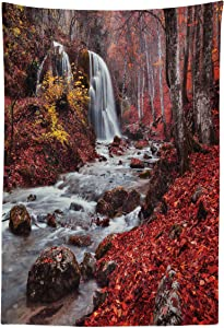 """Lunarable Waterfall Tapestry, Stream Waterfall in The Fall Forest of Grand Canyon Idyllic Nature Photo Print, Fabric Wall Hanging Decor for Bedroom Living Room Dorm, 30"""" X 45"""", Red Brown"""