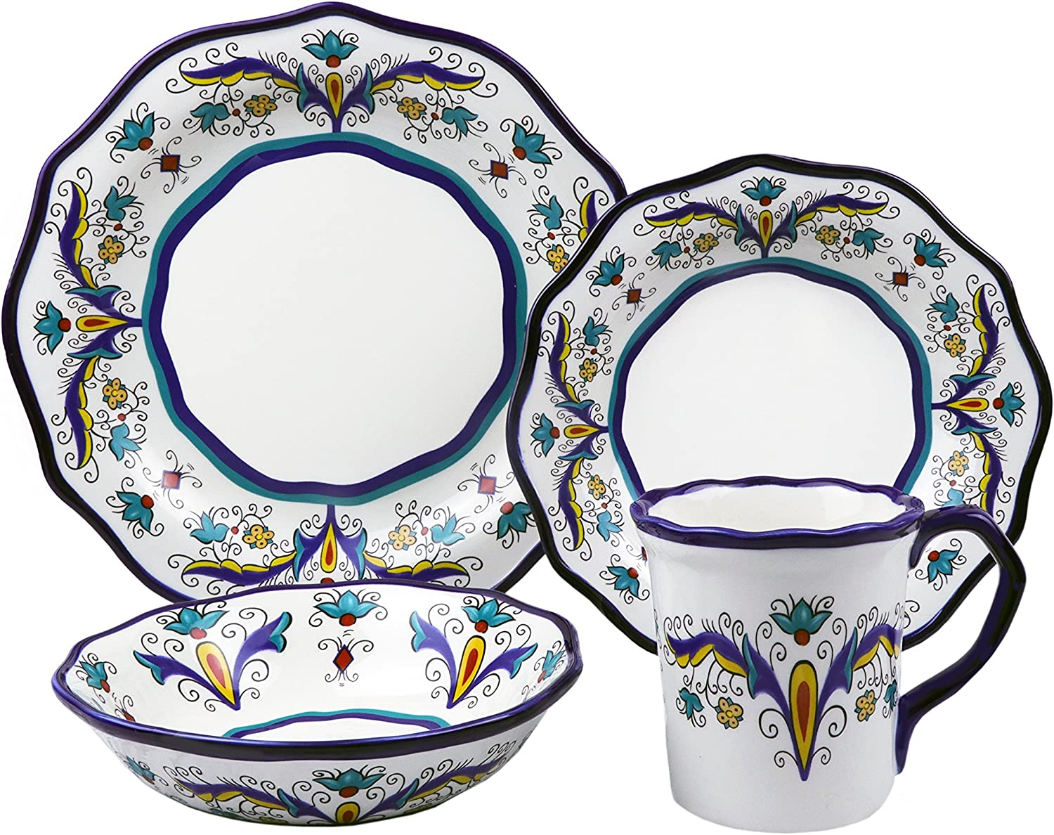 Lorren Home Trends LH506 Samana Collection 16 Piece Euro Style Wavy Edge Stoneware Set By Lorren Home, One Size, Multicolor