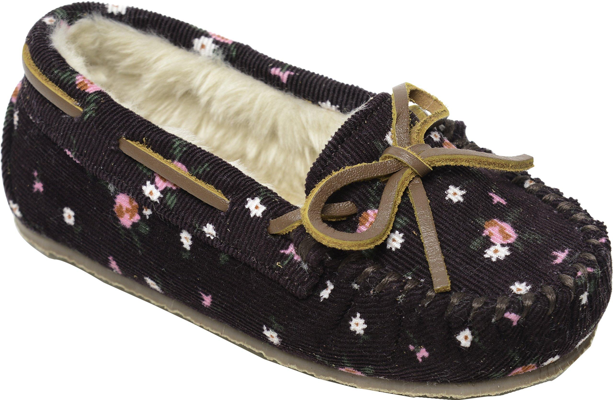 Minnetonka Girls Floral Corduroy Cassie Slipper, Raisin Floral, Size 1 M US Little Kid