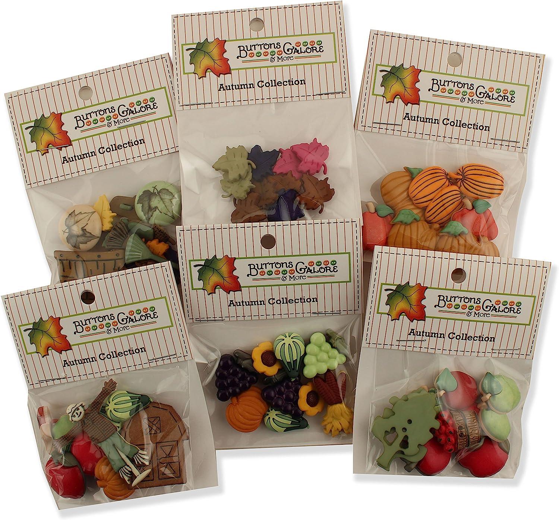 Buttons Galore Autumn Button Theme Packs-Set of 6