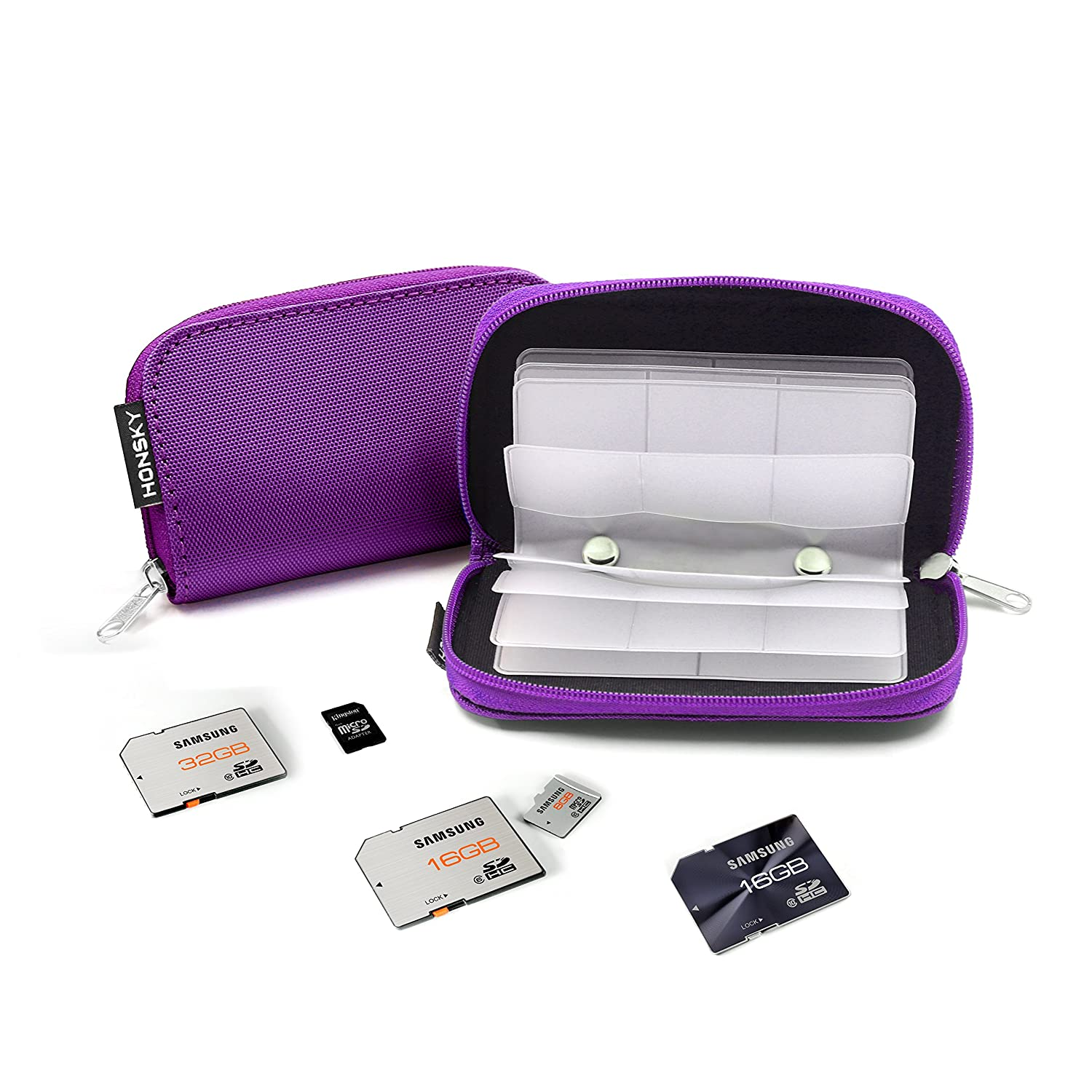 Pink Memory Card Case Organizer Storage Wallet for SD Cards CF SDXC SDHC MMC 22 Slot Zippered Memory Card Holder SD Card Case Micro SD Cards