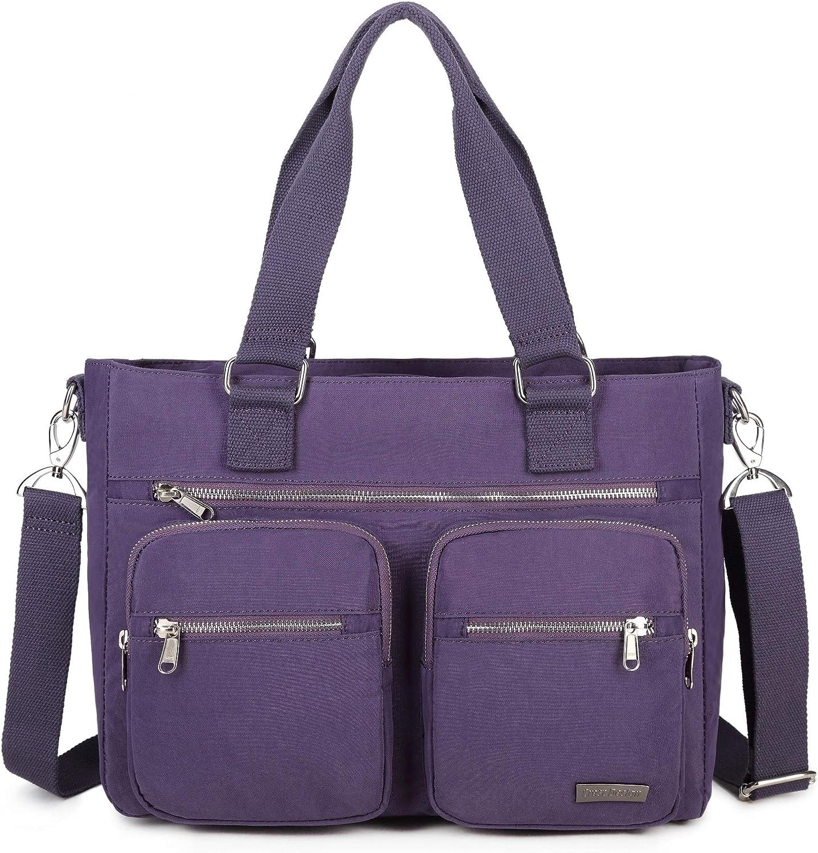 La Packmore Water Repellent Nylon Shoulder Bag Handbag Laptop Bag Teacher Nurse Tote Briefcase Clinical Bag (14 Inch, Lavender)