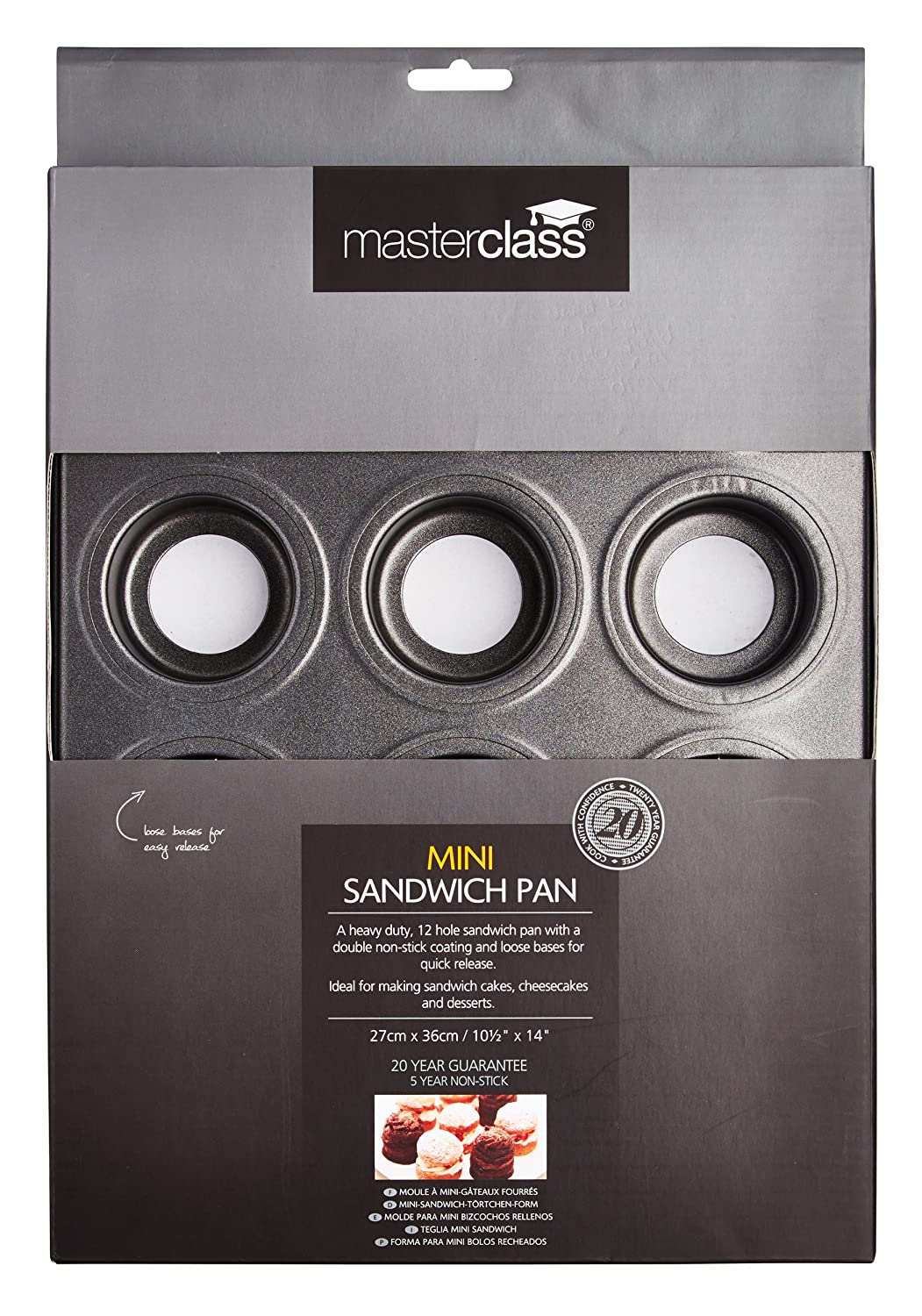 Amazon.com: Kitchencraft Masterclass 12-hole Non-stick Mini Sandwich Tin With Loose Bases, : Kitchen & Dining
