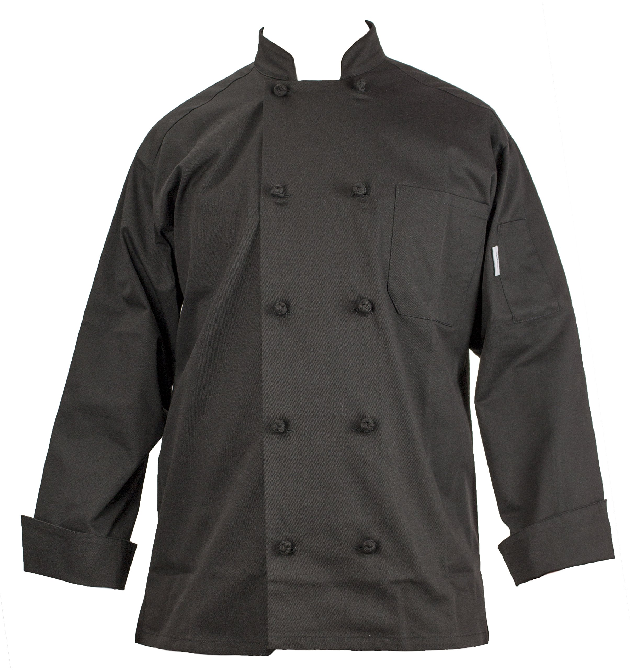 Chef's Pride Unisex Chef Coat – Double Breasted Long Sleeve Chef Jacket with Cloth Knotted Buttons- Poly Cotton Blend