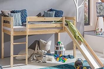 Hochbett Spielbett amazon de kinderbett hochbett mit rutsche leiter hochbett spielbett