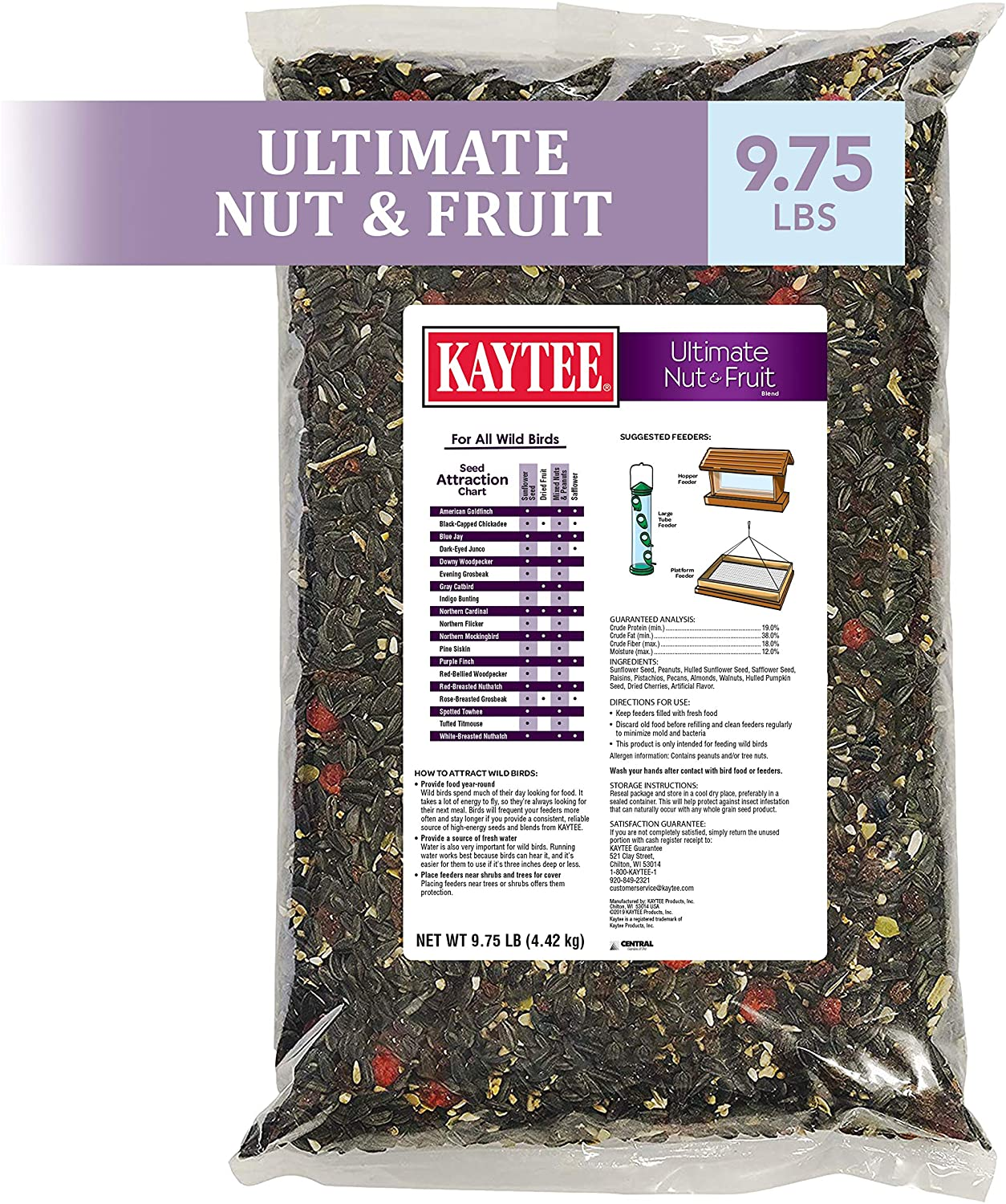 Kaytee 100539481 Wild Bird Food, 9.75lbs. Ultimate Nut and Fruit, None