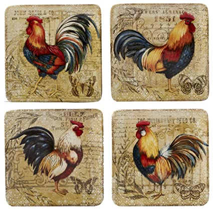 Amazon.com   Certified International 23651SET4 Gilded Rooster ...