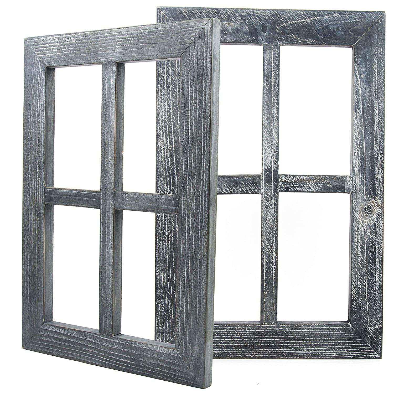 "Daisy's House Distressed Window Frame Wall Decor – Set of 2 Rustic Window Panes with Hanging Hardware for Bedroom Living Room Bathroom Barnwood Home Decor (15.75"" x 11"" x 1"" Each)"