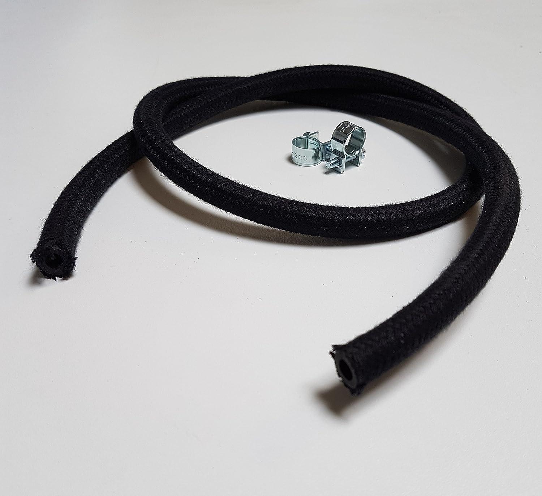 ID 6mm x AD 11mm VE-Professional Kraftstoffschlauch Textilumflechtung Diesel Benzinschlauch mit Schlauchschellen