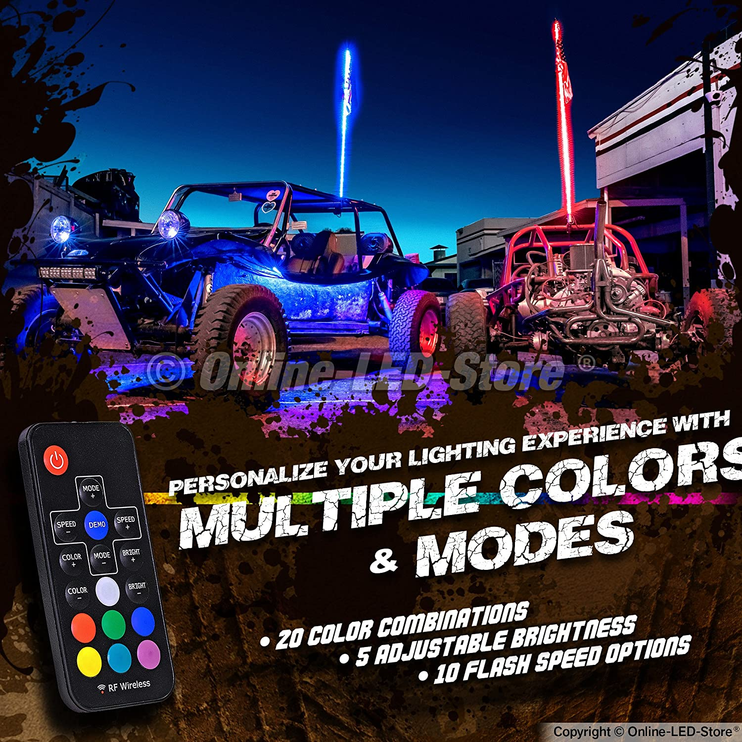 Accessories for ATV Polaris RZR 4 Wheeler 20 Colors Lighted Antenna Whips Wireless Remote 21 Modes 3ft LED Whip Lights w//Flag Weatherproof