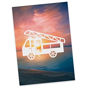 Grußkarte Einladung Postkarte Feuerwehr Karte Geschenkkarte Postkarte