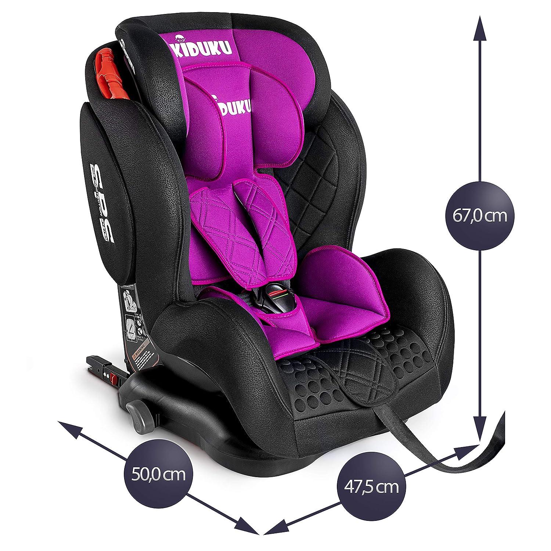 Autositz mitwachsend zugelassen nach ECE R44//04 9 kg KIDUKU/® Kindersitz Autokindersitz mit ISOFIX Gruppe 1//2//3 Grau universal Kinderautositz 36 kg 1-12 Jahre