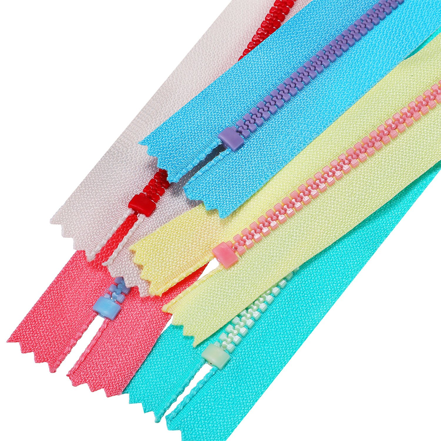 TecUnite 20 Pieces Plastic Resin Zippers with Lifting Ring Quoit Colorful Zipper for Tailor Sewing Crafts Bag Garment 12 Inch