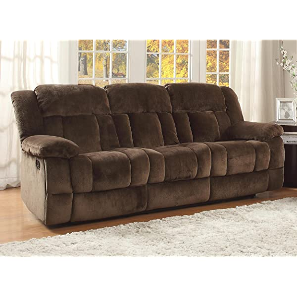 Homelegance 9636-3 Laurelton Textured Plush Microfiber Motion Reclining Sofa, Chocolate Brown