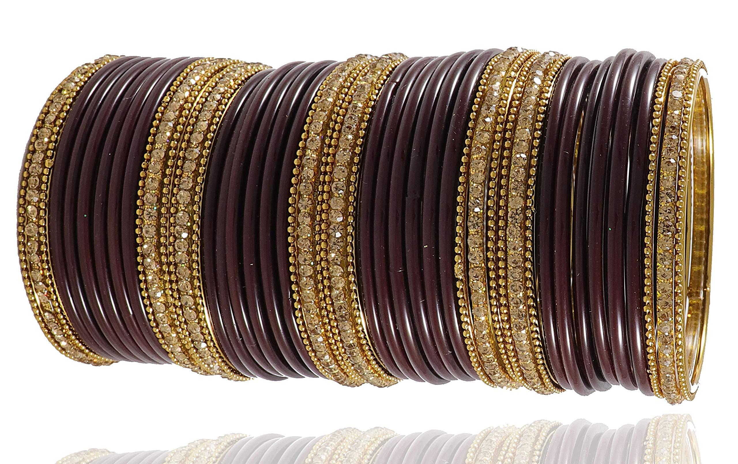 NMII Beautiful & Glossy Plain Glass Bangles Set Studded with Zircon for Women & Girls (Brown, 2.8) (B07GP6S1QM) Amazon Price History, Amazon Price Tracker