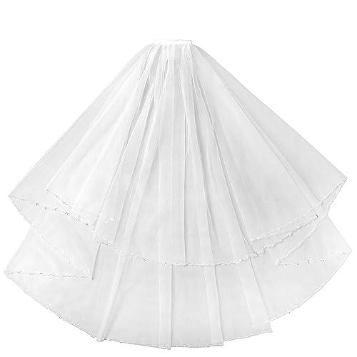Beautyprom da donna 2strati breve veli da sposa in rilievo velo da sposa con pettine