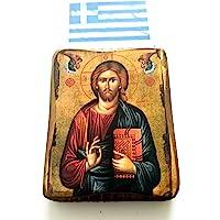 Ícono cristiano ortodoxo griego de Jesucristo, de madera, hecho a mano / a0